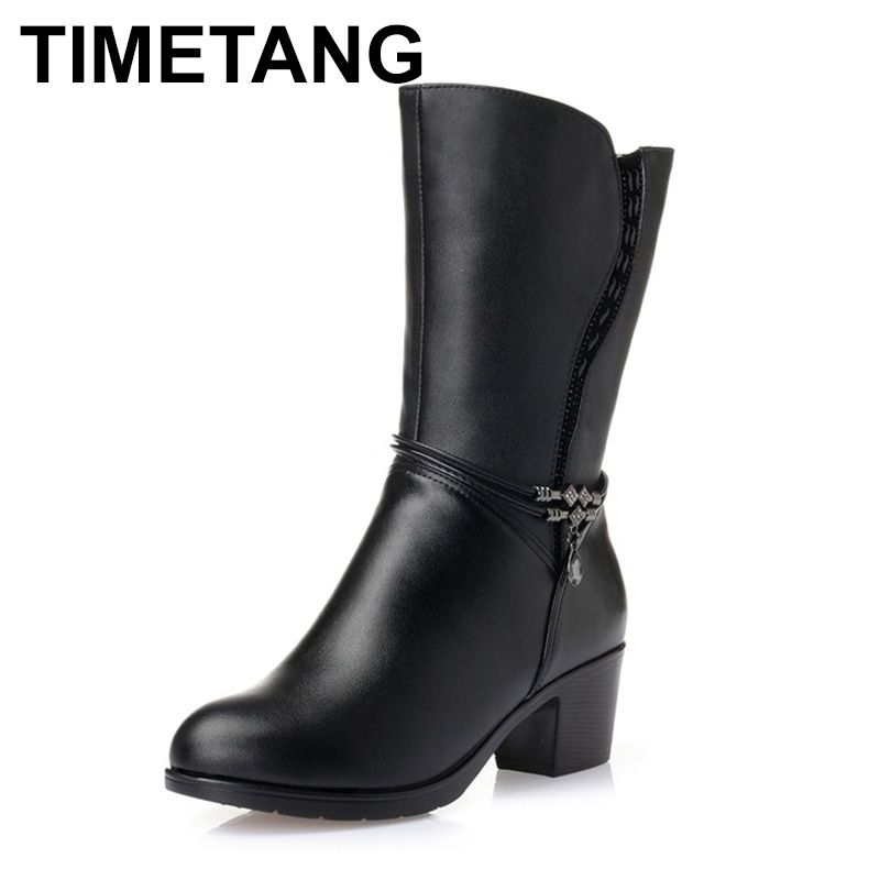 TIMETANG Winter Boots Wool Fur Inside Warm Shoes Women Genuine Leather Shoes Handmade High Heels Boots
