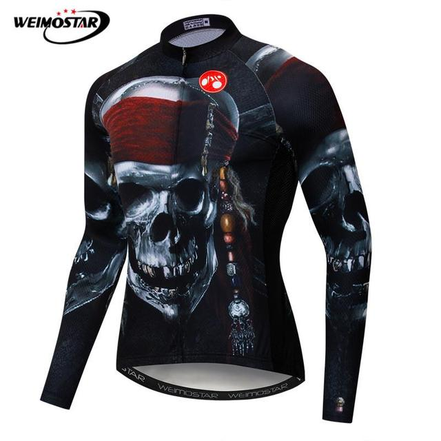 a6b64af60 Weimostar 100% Polyester Cycling Jersey Long Sleeve Skull Breathable Bicycle  Clothes Maillot Ciclismo Quick Dry mtb Bike Jersey