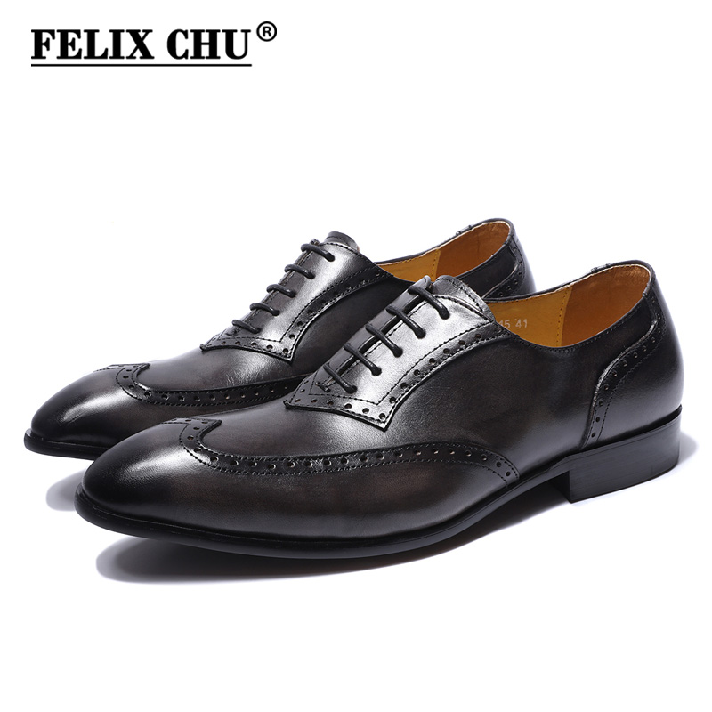 FELIX CHU Genuine Leather Lace Up Men Gray Brogue Oxford Casual Business Footwear Man Dress Shoes With Wingtip Detail contrast lace cuff frill detail smocked gingham dress