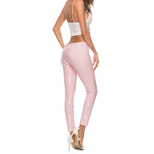 цена на 2019 Wetlook Women Sexy Shiny PU leather Leggings with Back Zipper Push Up Hot Faux Leather Pants Latex Rubber Pants Pink White