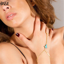 HC045 Women Fashion Jewelry Gold Slave Chain On Hand Cross Turquoise Bead Bracelet Finger Harness For Female stylish square fake turquoise bead bracelet for women