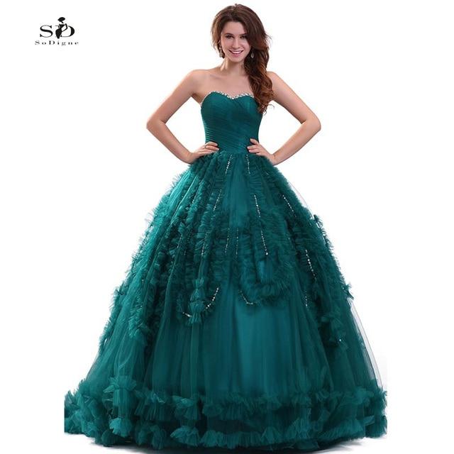 fc6ebd128 Partido Vestidos cristales vestido quinceanera vestido 2018 turquesa lujo  vestido de 15 años Encaje larga bola