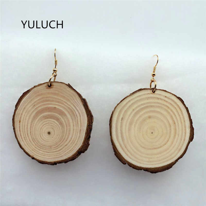 personality New design Big handmade Natural african wood earrings jewelry