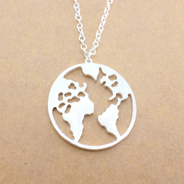 2018 new world map pendant necklaces earth day wanderlust 2018 new world map pendant necklaces earth day wanderlust personalized jewelry outdoor metal fashion necklace gift aloadofball Gallery