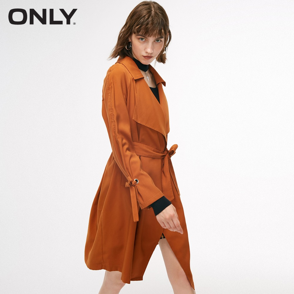 ONLY Women's Autumn New Simple Loose Tie Trench Coat  | 118336525