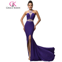 Elegant Micro Fiber Halter Long Slim Sheath Purple Prom Dresses Floor Length Sequins Beading Sexy Prom