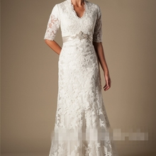 cecelle Vintage Lace Mermaid Modest Wedding Dresses With