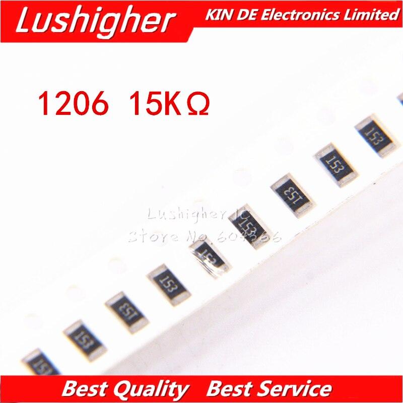 100PCS 1206 SMD Resistor 5% 15K Ohm 153 15Kohm