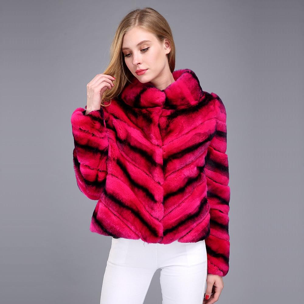 2017 Hot Sale Women Real Natural Rex Rabbit Fur Coat High
