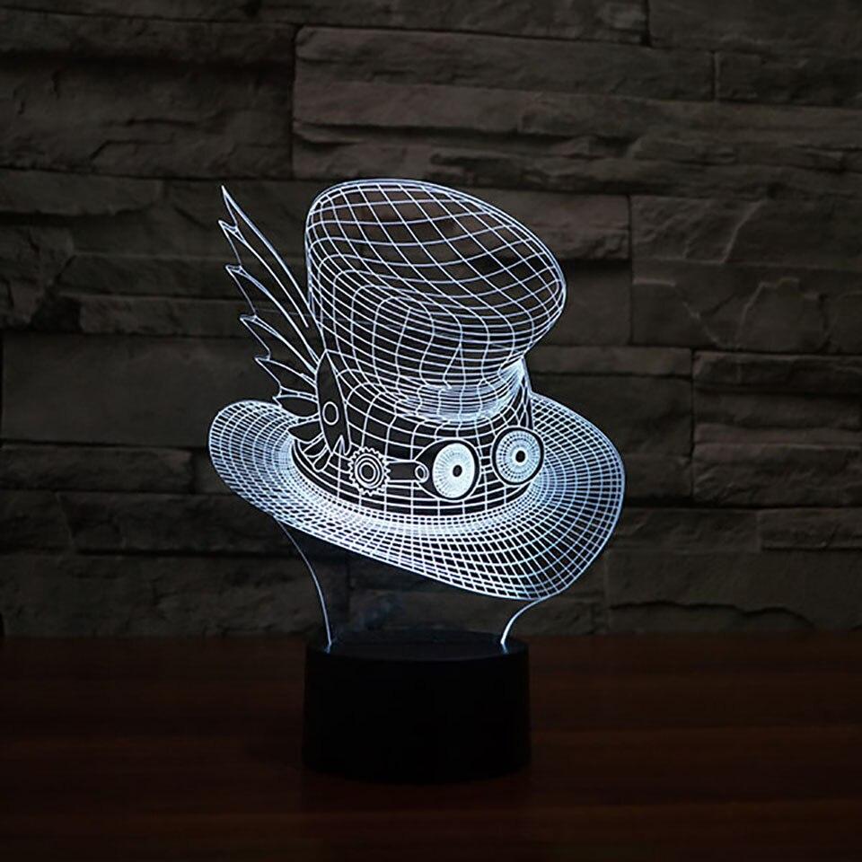 Led Creative 3D Vision Big Eye Hat Desk Lamp Usb 7 Color Changing Cartoon Cap Night Light Baby Bedside Sleep Lighting Decor Gift
