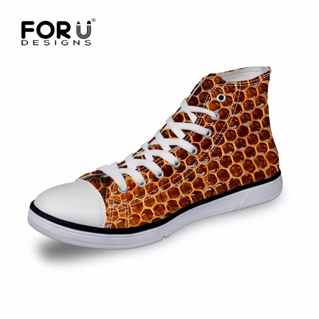 FORUDESIGNS Men High-top Canvas Shoes,Fashion Bee Print Lace-up Men's Casual Vulcanize Shoe,Top Quality Male Leisure Flat Shoes