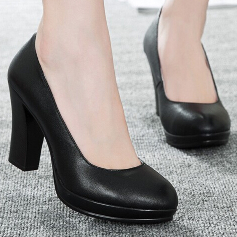 (33-40) women black high heels Genulne Leather pumps female working shoes with platform sys-458