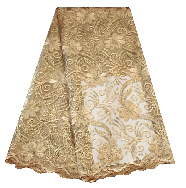 Champagne gold plain sequence lace fabric cheap wholesale french ...