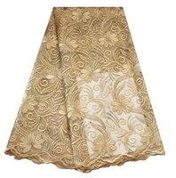 Vàng Champagne đồng bằng chuỗi ren vải giá rẻ bán buôn vải ren pháp với sequins cho aso ebi quần áo may