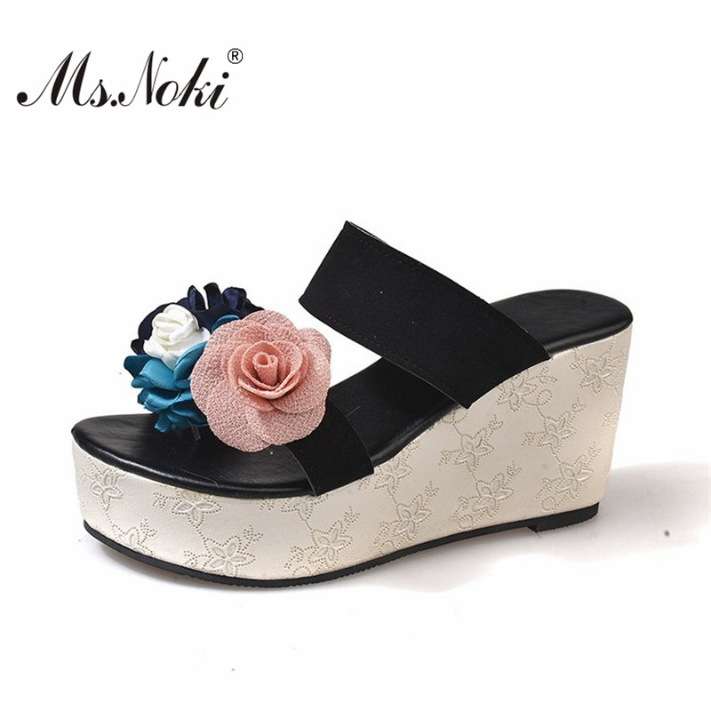 Ms. Noki fashion platform floral women slides wedges sexy high heel ladies slippers flip flops casual women shoes girls sandals