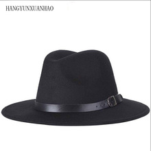 High Quality Wool Fedoras Hat Classic Belt Wide Brim Jazz Hats For Women Men Felt Autumn Winter Church Caps