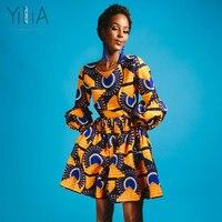 Yilia Women Dress 2018 Summer Autumn Fashion African Print Dashiki Puff Sleeves Party Dresses O Neck