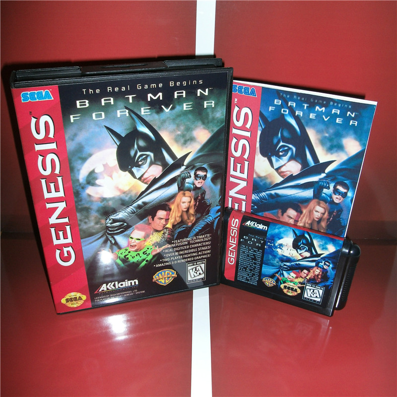 Batman Forever US Cover with box and manual for Sega MegaDrive Genesis Video Game Console 16 bit MD card image