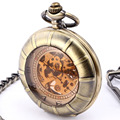 De Bronze do vintage Transparente Skeleton Mecânica Pocket Watch Relojes 2016 Montres Legal Mannen Horloges Homens Relógio de Bolso Steampunk