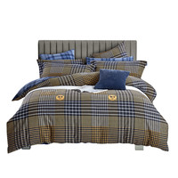 Multicolor Collision Plaid Blue Stripes Logo Bedding Set Fashion Duvet Cover Sheet Pillow Case 100% Cotton 3 size S/L/XL 3/4 Pcs