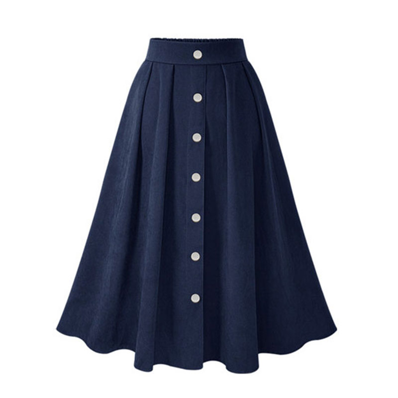 HDY Haoduoyi Pleated Skirts Button High Waist Elastic Mid Skirt Korean Style Women Skirts Fashion New 2018 Autumn Winter Bottom 14