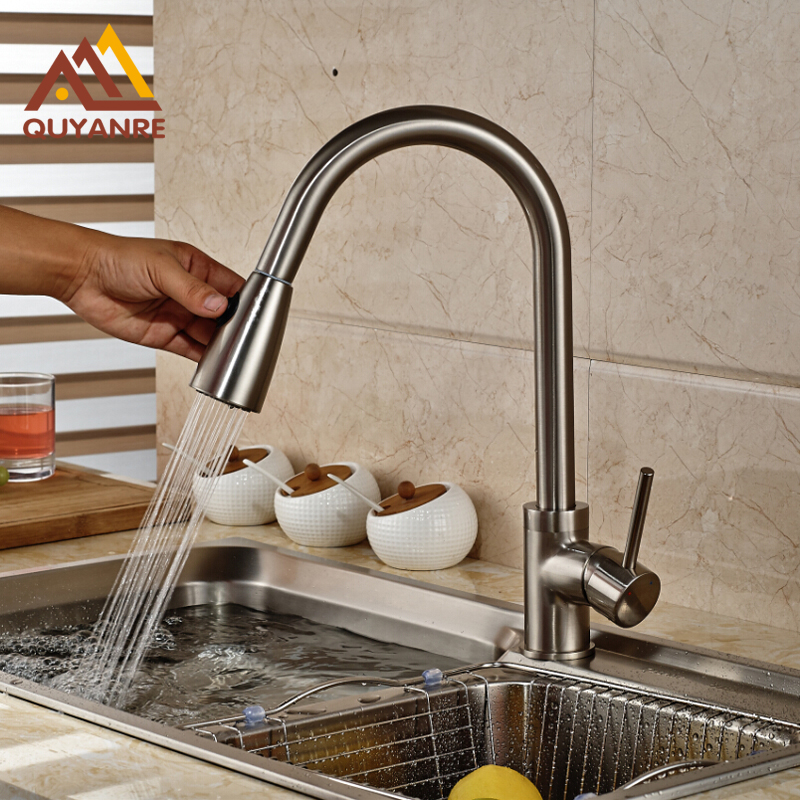 Nickle Brushed Pull Out One Hole Kitchen Faucet Single Handle Mixer Tap for Kitchen gizero free shipping orange spring kitchen faucet brushed nickle finish single handle hot cold water crane mixing tap gi2069