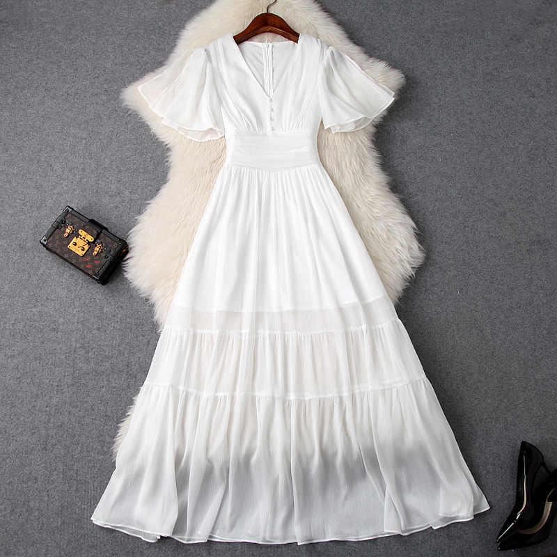 האופנה ראפלס קצר שרוולי V צוואר גדול Hem נשים קיץ מקסי ארוך לבן שמלת Vestidos 2019 חדש בתוספת גודל אוקראינה שמלות