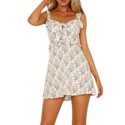 2019 Fashion Hot Summer Spring Women Sexy Sling Sleeveless V-Neck Flower Print Button Party Princess Dress Free Ship A30 2