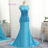 HVVLF Royal Blue Abendkleider 2018 Mermaid Sweep Zug Satin Spitze Schärpe Backless Lange Abendkleid Abendkleid Abendkleid