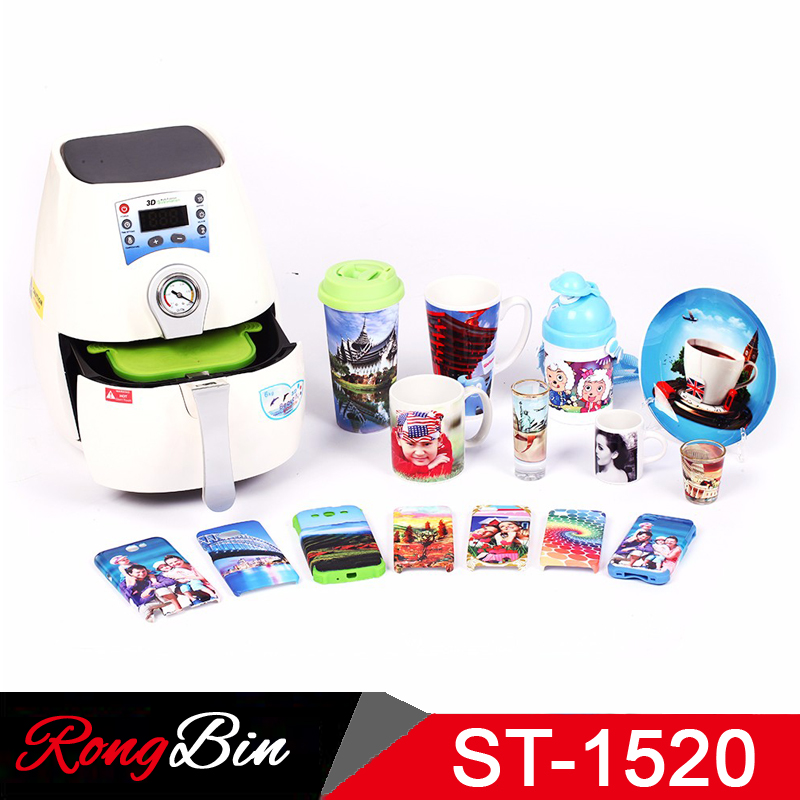 ST1520B 3D Mini Sublimation Vacuum Heat Press Machine for Phone Cases Mobile Covers Mugs Cups Plates Wineglass Plastic Bottles mini smaller 3d vaccum heat press 1520