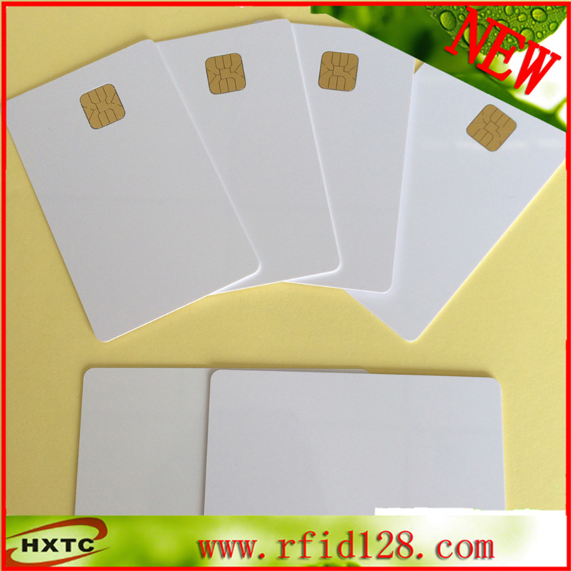 Free Shipping 50PCS/Lot Waterproof Printable Blank Contact PVC Smart IC Card with Sle4428 Chip For Epson/Canon Inkjet Printer 20pcs lot contact sle4428 chip gold card with magnetic stripe pvc blank smart card purchase card 1k memory free shipping