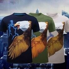 Men's Fashion Summer Short Sleeve 3D Eagle Printed T Shirt Casual Tee Top