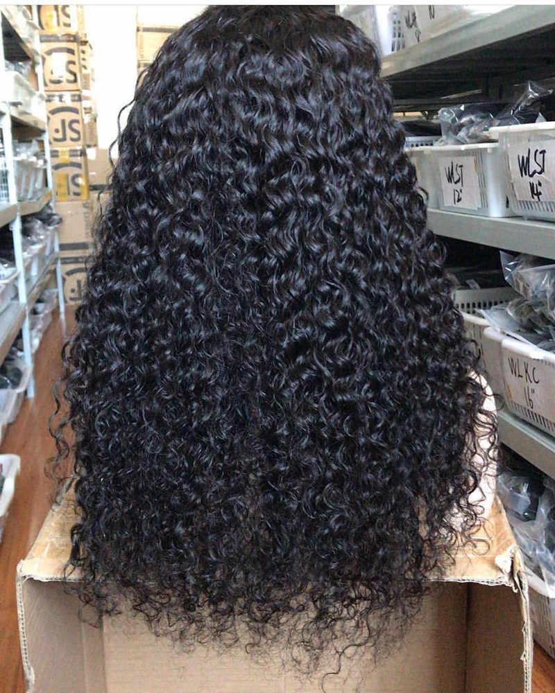 360 Кружева передние парики Джерри Кудрявые Парики 13x6 глубокий спереди кружева Remy человеческие волосы предварительно длинные парики Черный Полный конец для Для женщин