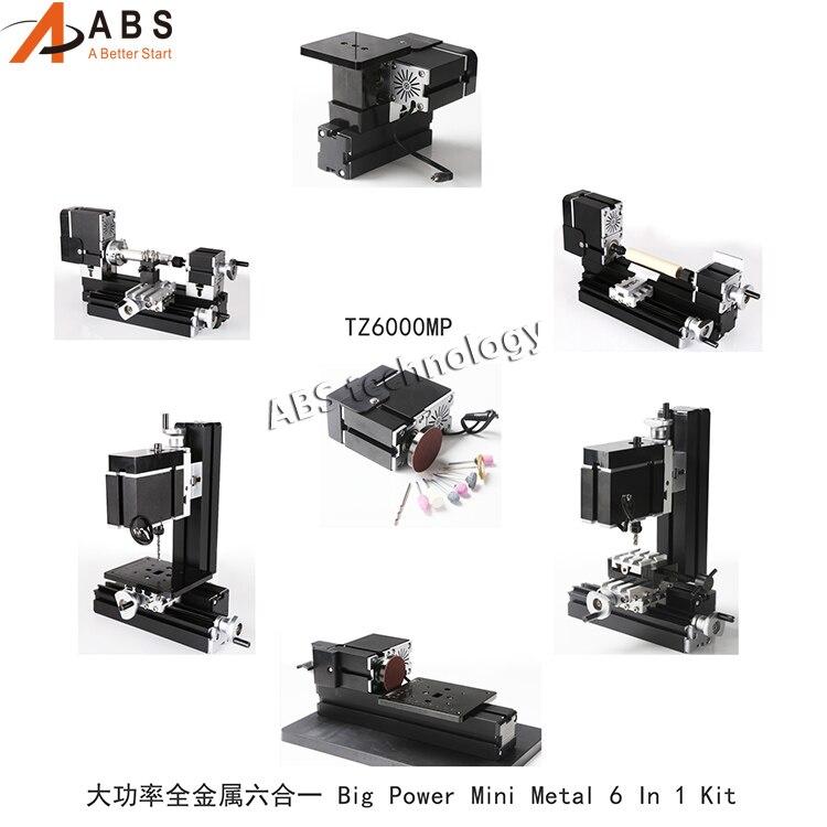 TZ6000MP Big Power 60W Mini All Metal Mini Lathe Machine 6 In 1 Kit Milling Drilling