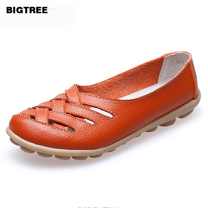 BIGTREE New 10colors! Women Genuine Leather Mother Shoes Moccasins Women's Soft Leisure Flats Female Driving Shoe Flat 23 new women s flats shoes 2015 brand genuine leather flat shoes woman moccasins female causal driving shoes for women bsn 158