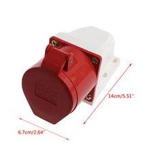 1pc 32A 5pin Industrial Wall Socket Plug 240-415V Waterproof IP44 3P+N+E 3 Phase Surface Mount Socket Plug