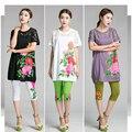 НОВЫЙ 2016 лето женщины платье мода кружева шить плюс размер свободные Китайский стиль vintage высококачественный Хлопок Белье платье 3 цвета