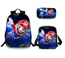 3 sztuk zestaw torba szkolna Super Mario Bros Sonic plecak dla dzieci połączenie Bookbag chłopcy dziewczyny plecak szkolny codzienne Mochila tanie tanio Torby szkolne Poliester Cartoon zipper Unisex Polyester KK963 0 45