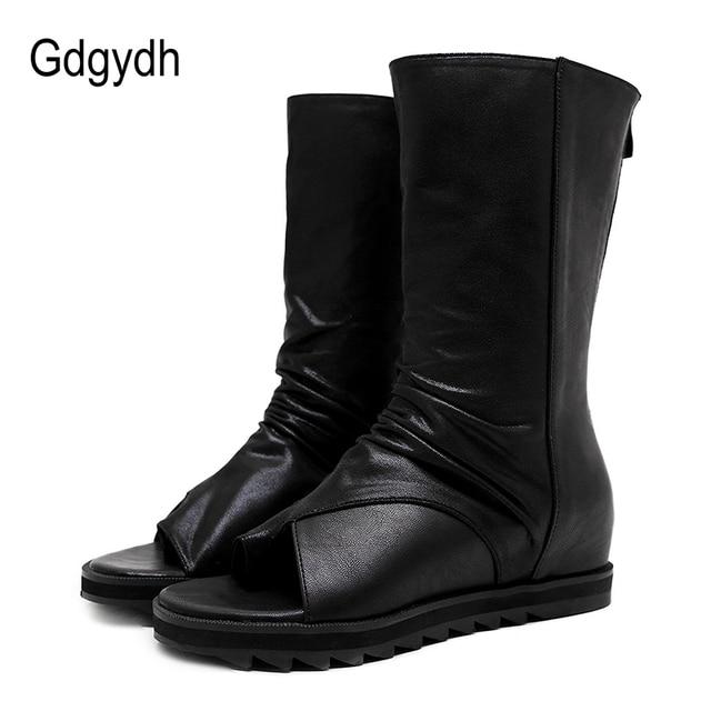 Gdgydh Fermuar Tasarım Siyah Kadın Ayakkabı Takozlar 2019 Yeni Bahar Sonbahar Açık Ağızlı Deri Orta Buzağı Çizmeler Kadınlar Için promosyon Satış