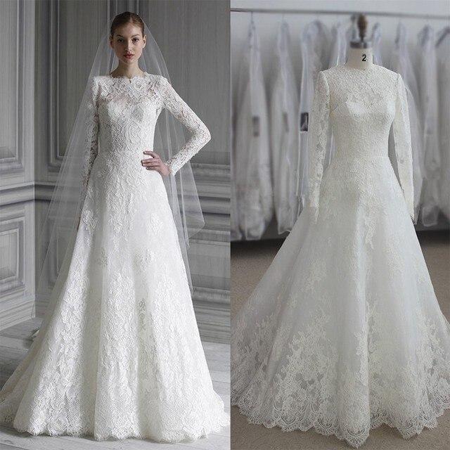 Aliexpresscom Buy Vintage Lace Long Sleeve Muslim Wedding Dress