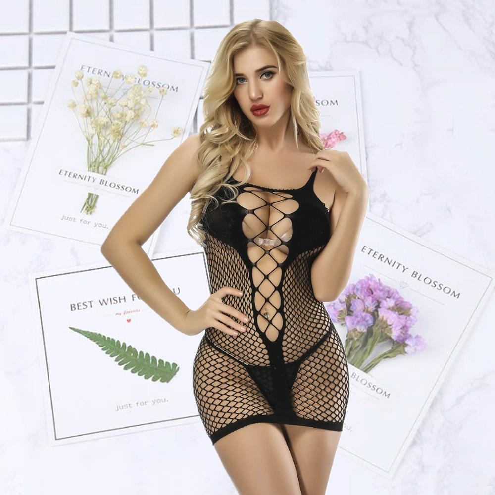 high elastic fishnet Sexy Lingerie Sexy Costumes Women Underwear Erotic Apparel short skirt in Teddies Bodysuits from Novelty Special Use