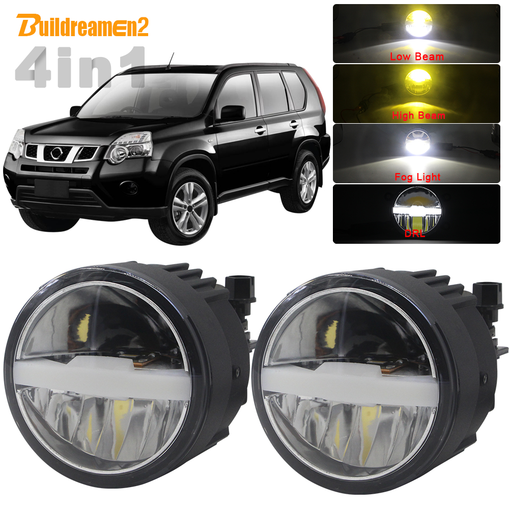 4in1 Car Multifunction LED Headlight High Low Beam Fog Light DRL Intelligent Switch 5000LM 12V For Nissan X-Trail T31 2007-2013