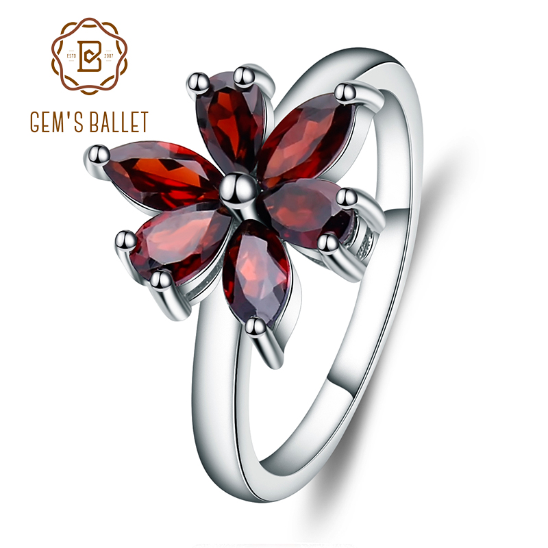 Gem's Ballet Fashion 925 Sterling Silver Flower Natural Garnet Rings Trendy Romantic Solitaire Engagement Rings For Women Party