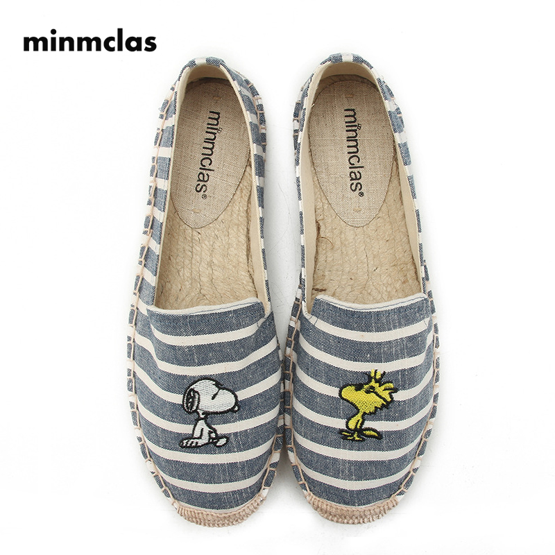 Minmclas Blue and White Stripes Comfortable Ladies Womens Cartoon Espadrilles Shoes Breathable Flax Hemp Canvas for Girls
