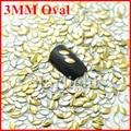 Encantos prego 3d 3 * 6 MM oval 1000 unidades/pacote ouro cor nail art strass