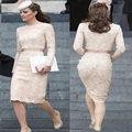 Modest Vintage Lace Modern Plus Size Celebrity Dresses Robe Cocktail Long Sleeves Scoop Short Party Dress Formal Cocktail Dress