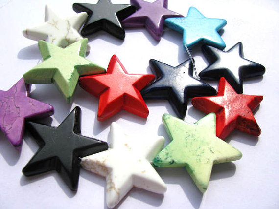 bulk turquoise semi precious star green pink red black white mixed jewelry beads 40mm--2strands 16inch/per strand