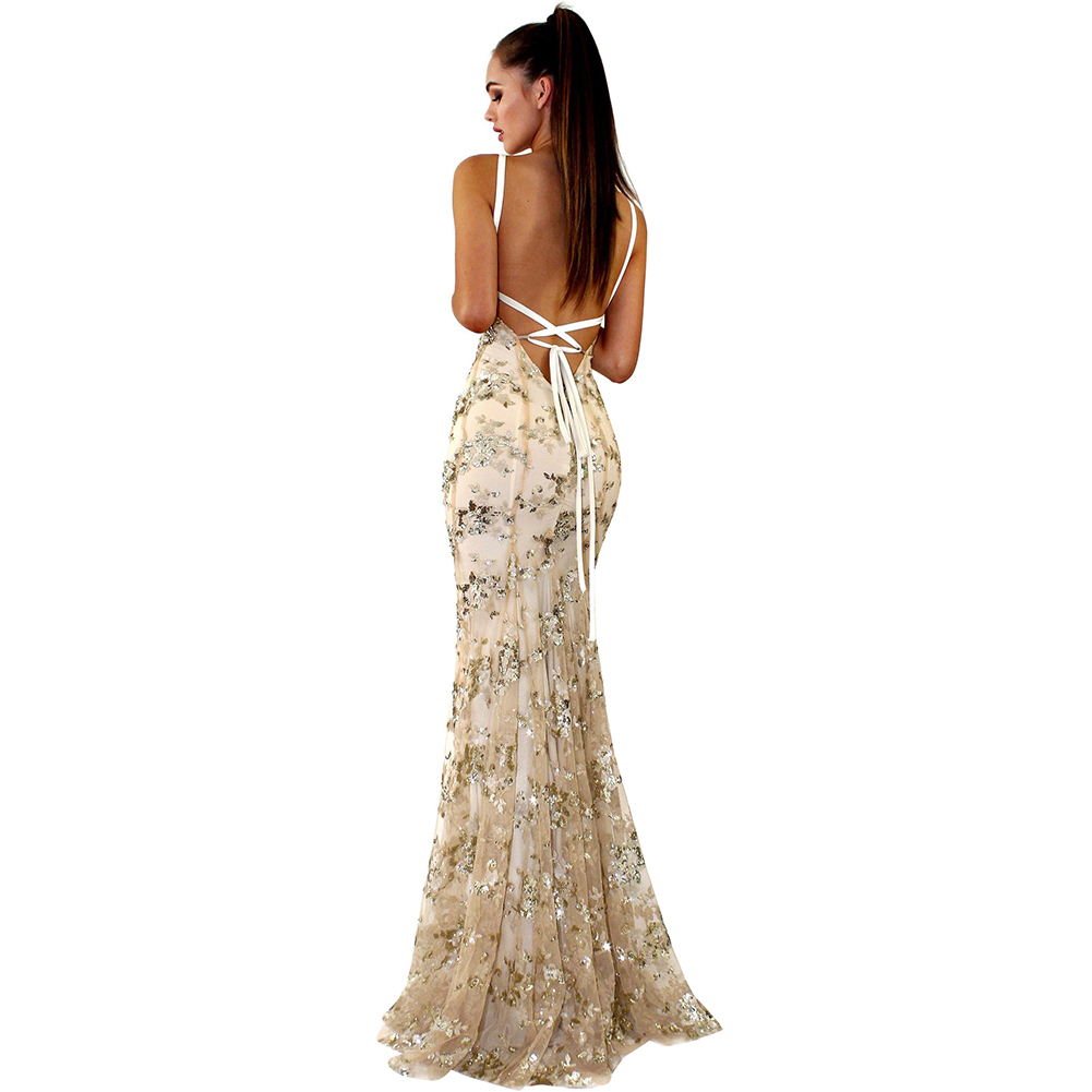 3ed05ac2a4b Club L Long Sleeve Sequin Backless Maxi Dress