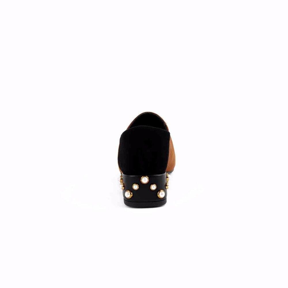 Patchwork Oxford Noir Couleurs Mélangées En Lenkisen Fleur Perles Bas Décoration Chaussures Mûr chocolat Pleine L88 Green Bout Talons army Pointu D'âge Pompes Femmes Cuir J3lucK1TF