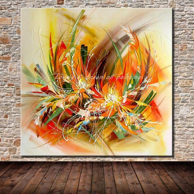 Mintura Modern sanatçı el boyalı soyut çiçekler tuval üzerine yağlıboya duvar tablosu duvar resmi oturma odası için ev dekor